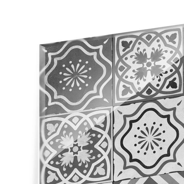 Glas Spritzschutz - Mediterranes Fliesenmuster Graustufen - Quadrat - 1:1