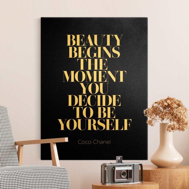 Leinwandbild Gold - Be yourself Coco Chanel Schwarz - Hochformat 3:4