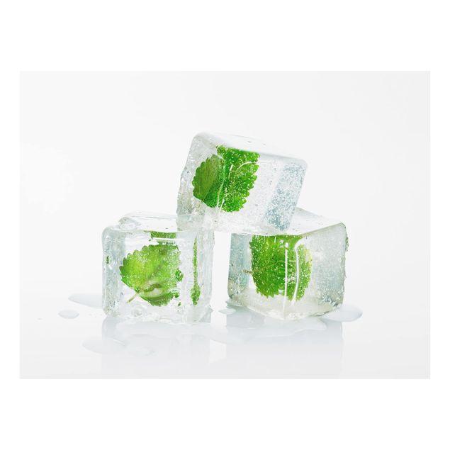 Glas Spritzschutz - Drei Eiswürfel mit Melisse - Querformat - 4:3