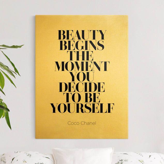 Leinwandbild Gold - Be yourself Coco Chanel - Hochformat 3:4