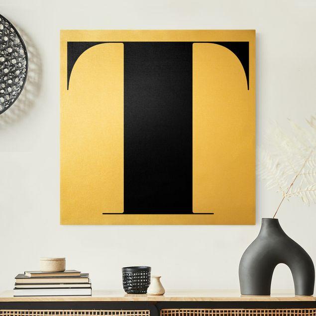 Leinwandbild Gold - Antiqua Letter T - Quadrat 1:1