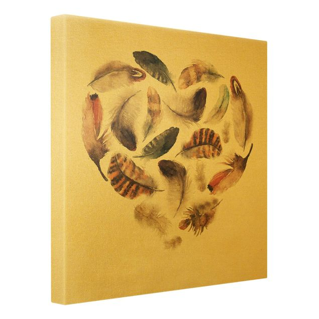 Leinwandbild Gold - Herz aus Federn - Quadrat 1:1