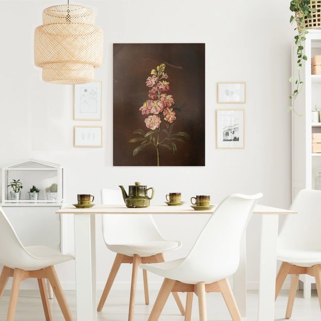 Leinwandbild - Barbara Regina Dietzsch - Eine rosa Garten-Levkkoje - Hochformat 4:3