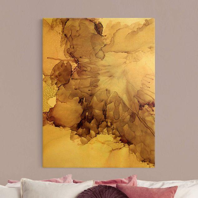 Leinwandbild Gold - Goldbraune Explosion I - Hochformat 3:4