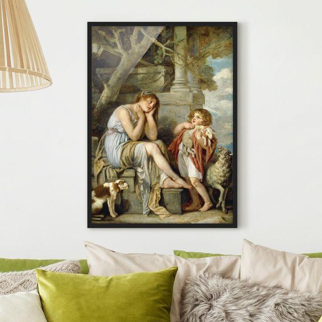 Bild mit Rahmen - Jean Baptiste Greuze - L'Agneau Chéri - Hochformat 3:4