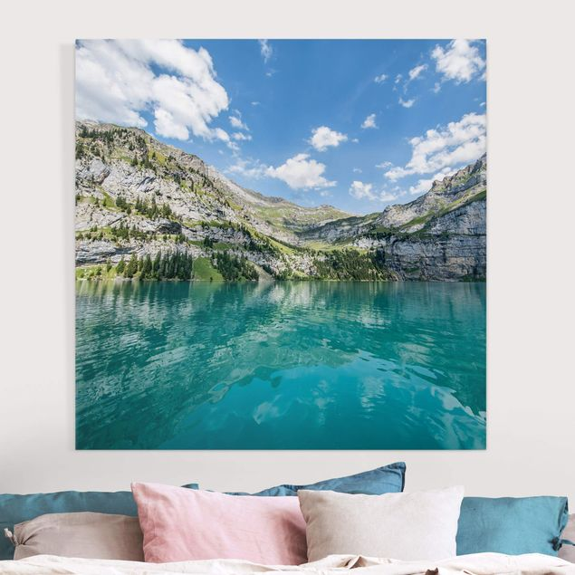 Leinwandbild - Traumhafter Bergsee - Quadrat 1:1
