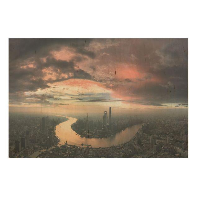 Holzbild - Shanghai am Morgen - Querformat 2:3