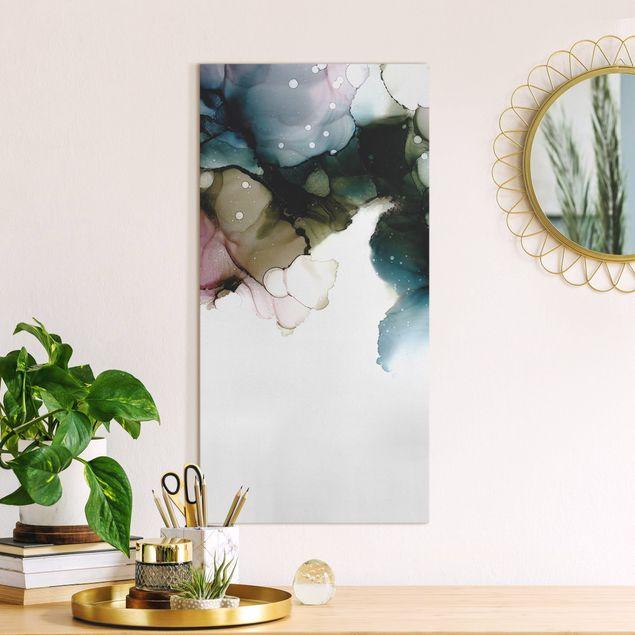 Leinwandbild - Blumenbogen mit Gold - Hochformat 1:2