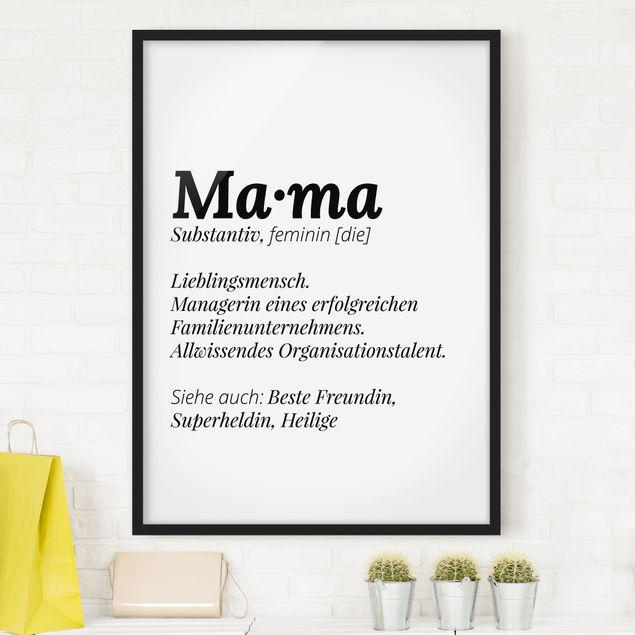 Bild mit Rahmen - Die Definition von Mama - Hochformat 3:4