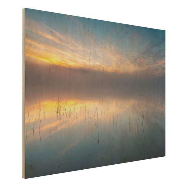 Holzbild - Sonnenaufgang schwedischer See - Querformat 3:4