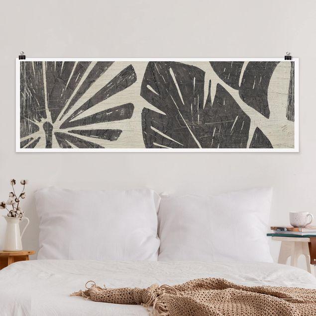 Poster - Palmenblätter vor Hellgrau - Panorama Querformat