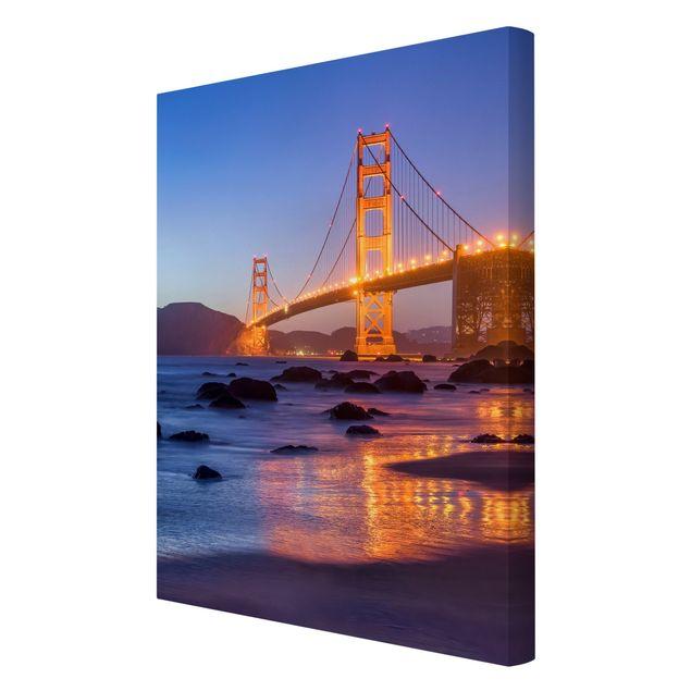 Leinwandbild - Golden Gate Bridge am Abend - Hochformat 2:3