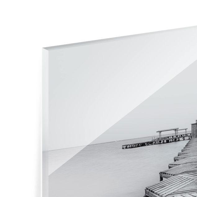 Glas Spritzschutz - Hölzerner Pier und Schwarz-weiß - Quadrat - 1:1