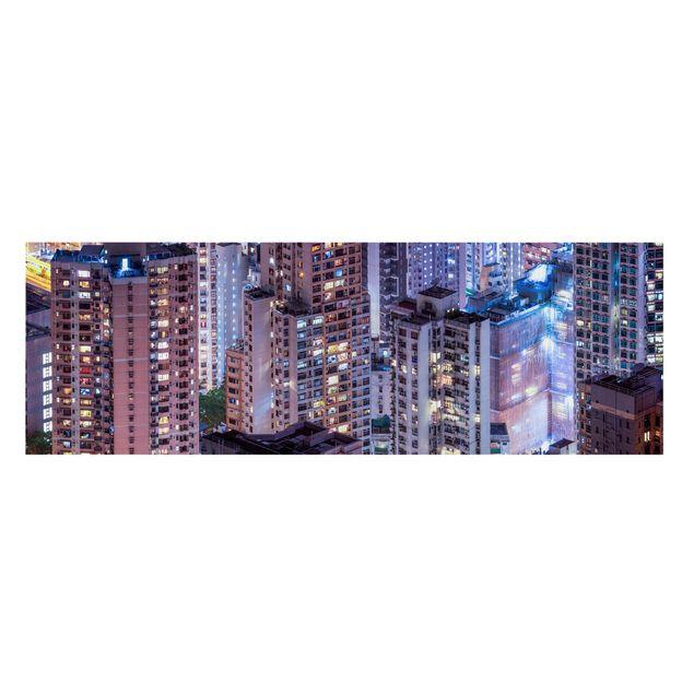 Leinwandbild - Hongkong Lichtermeer - Panorama 3:1