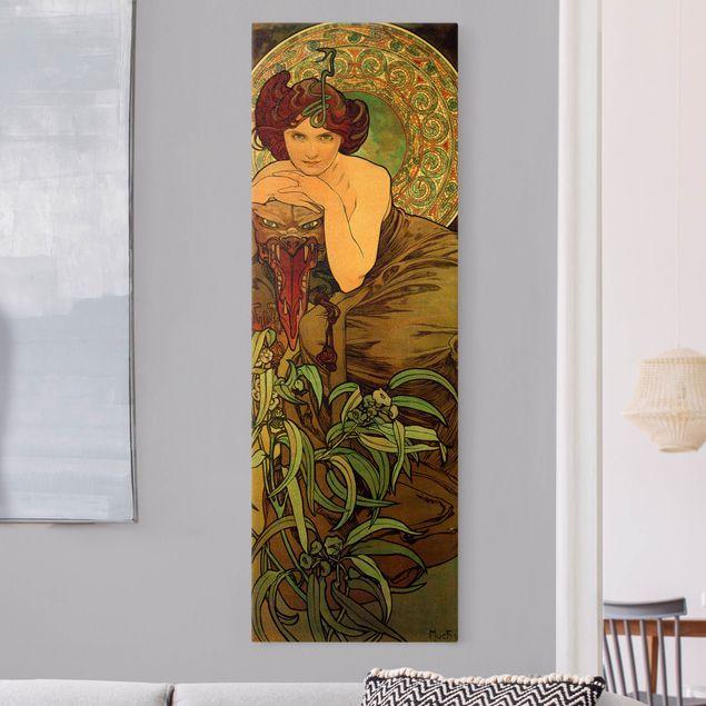 Leinwandbild Gold - Alfons Mucha - Edelsteine - Smaragd - Hochformat 1:3