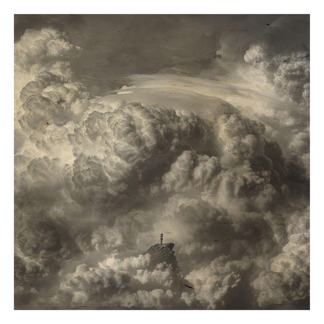 Holzbild - Ein Sturm zieht auf - Quadrat 1:1