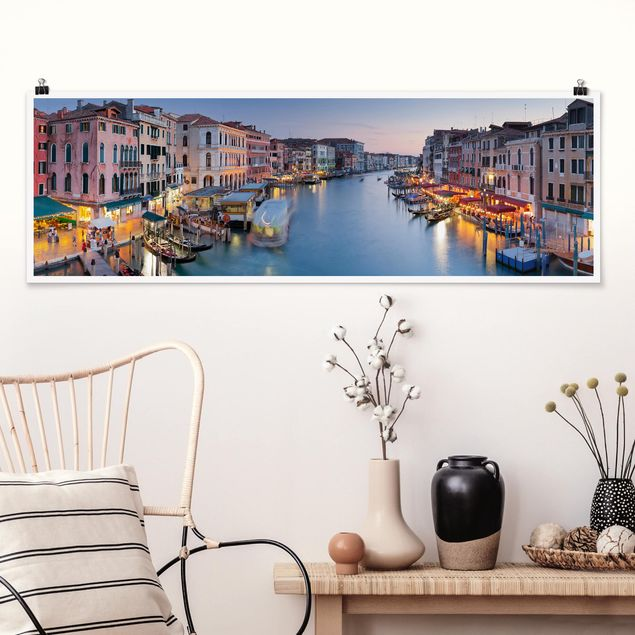 Poster - Abendstimmung auf Canal Grande in Venedig - Panorama Querformat