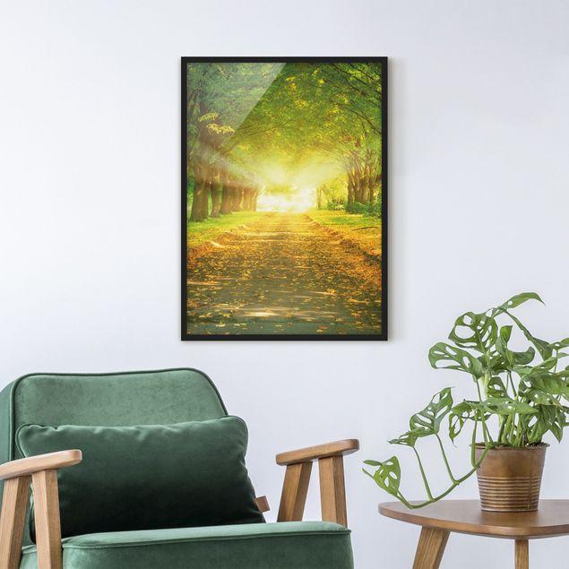 Bild mit Rahmen - Autumn Avenue - Hochformat 3:4