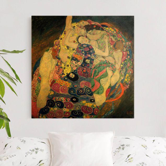 Leinwandbild Gold - Gustav Klimt - Die Jungfrau - Quadrat 1:1