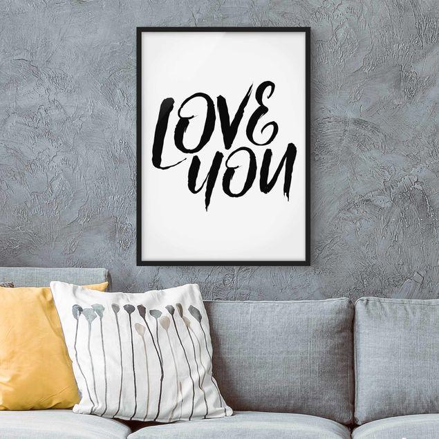 Bild mit Rahmen - Love You - Hochformat 3:4