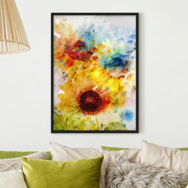 Bild mit Rahmen - Aquarell Blumen Sonnenblumen - Hochformat 3:4