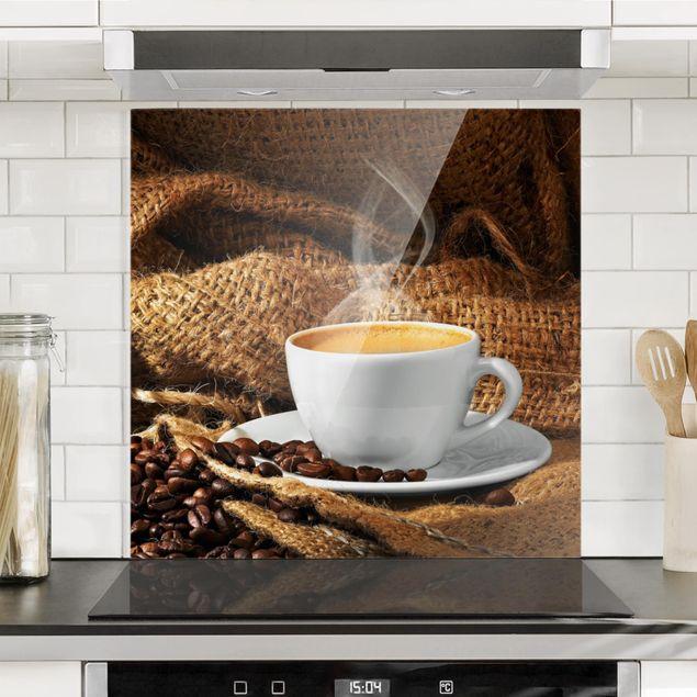 Glas Spritzschutz - Kaffee am Morgen - Quadrat - 1:1