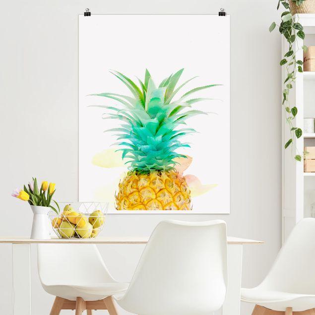 Poster - Ananas Aquarell - Hochformat 3:4