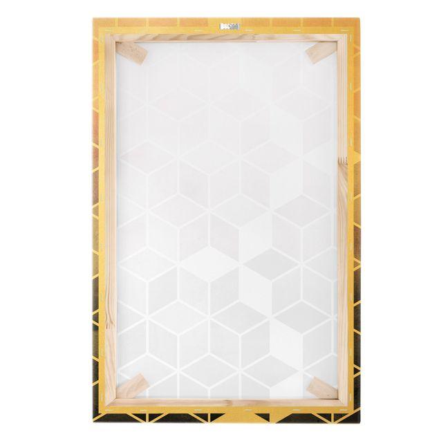 Leinwandbild Gold - Goldene Geometrie - Rosa Grau - Hochformat 2:3