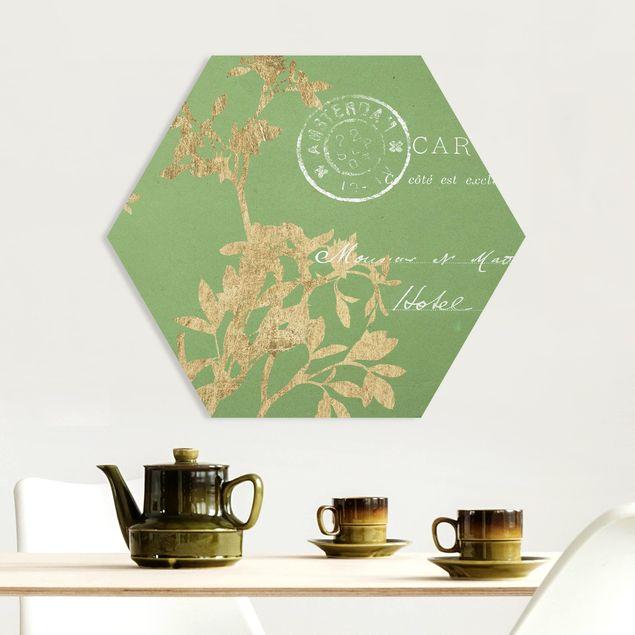 Hexagon Bild Forex - Goldene Blätter auf Lind I