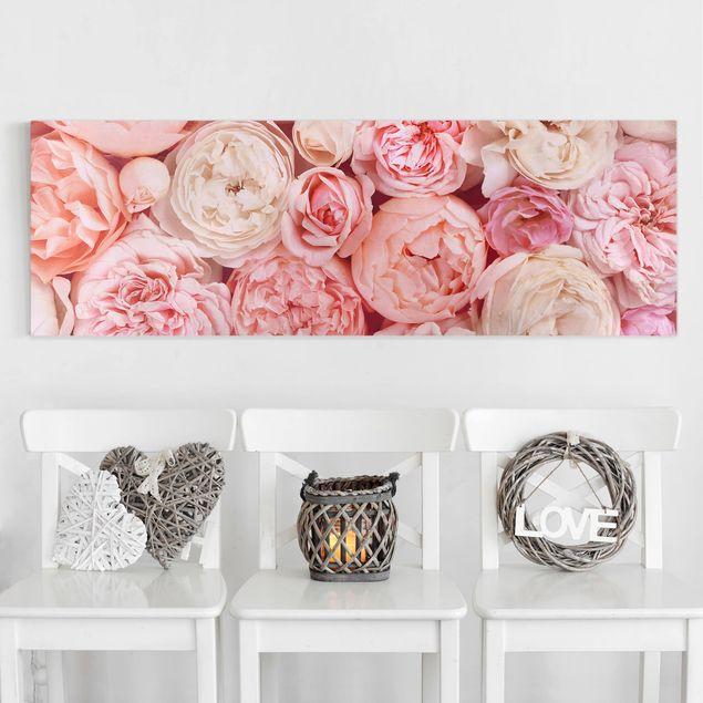 Leinwandbild - Rosen Rosé Koralle Shabby - Panorama 1:3