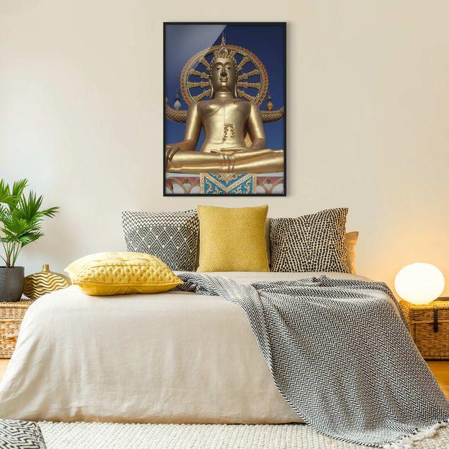 Bild mit Rahmen - Big Golden Buddha - Hochformat 3:4