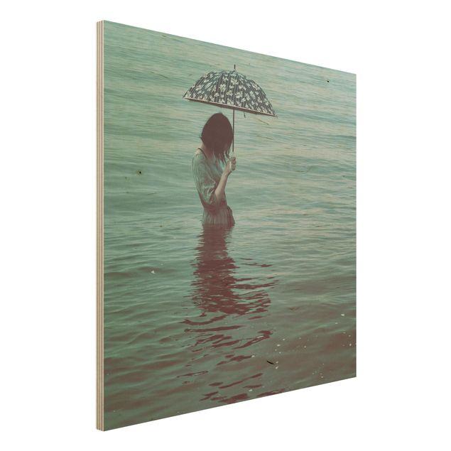 Holzbild - Spaziergang im Wasser - Quadrat 1:1