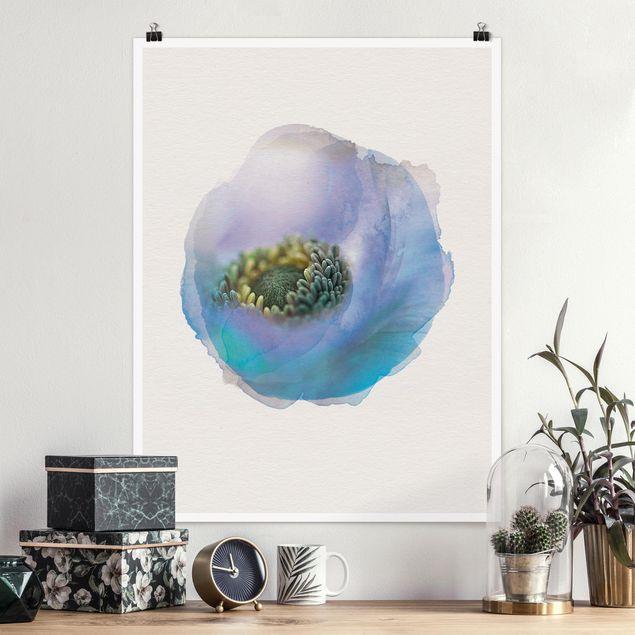 Poster - Wasserfarben - Anemone auf dem Fluss - Hochformat 4:3