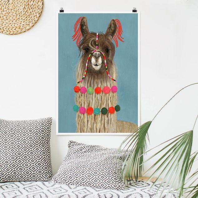 Poster - Lama mit Schmuck I - Hochformat 3:2