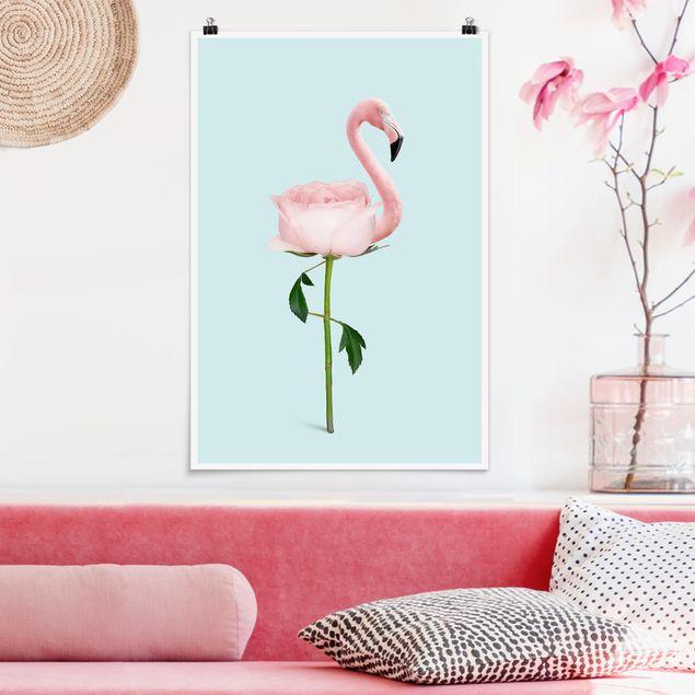 Poster - Jonas Loose - Flamingo mit Rose - Hochformat 3:2