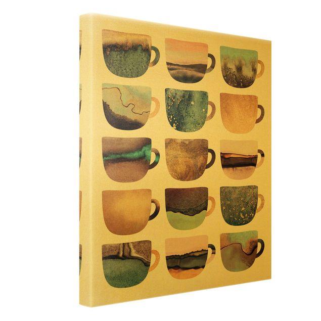 Leinwandbild Gold - Bunte Kaffeetassen mit Gold - Hochformat 3:4