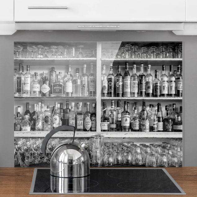 Glas Spritzschutz - Bar Schwarz Weiß - Querformat - 4:3