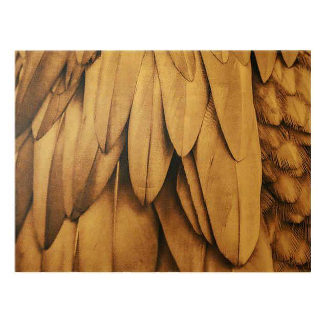 Leinwandbild Gold - Federn in Rosegold - Querformat 4:3