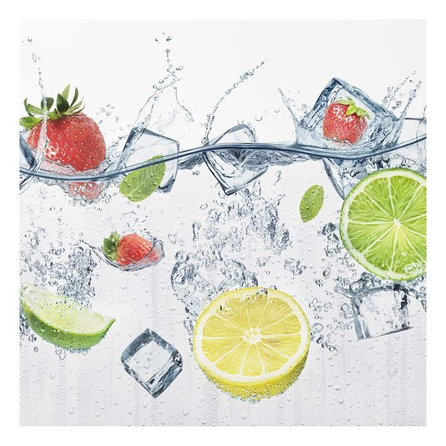 Glas Spritzschutz - Frucht Cocktail - Quadrat - 1:1