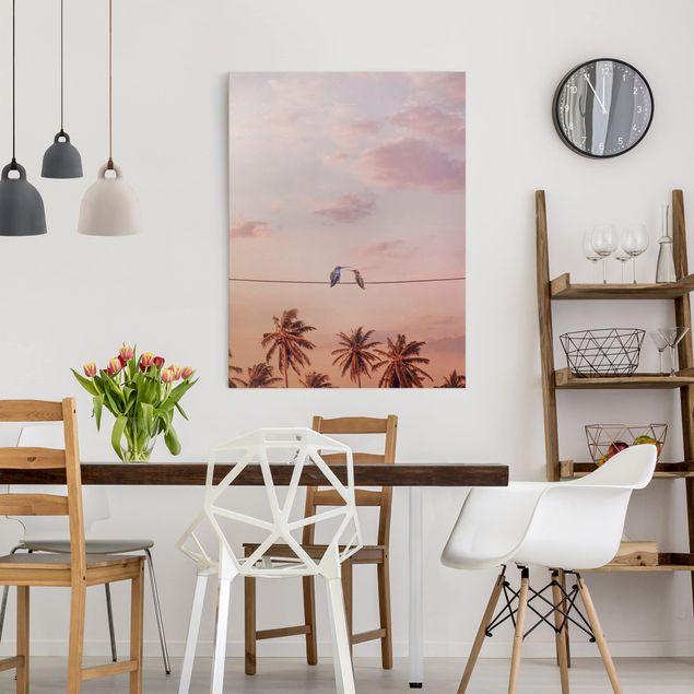 Leinwandbild - Jonas Loose - Sonnenuntergang mit Kolibris - Hochformat 4:3