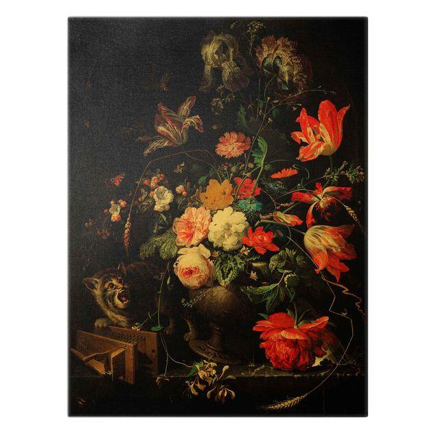 Leinwandbild Gold - Abraham Mignon - Das umgeworfene Bouquet - Hochformat 3:4