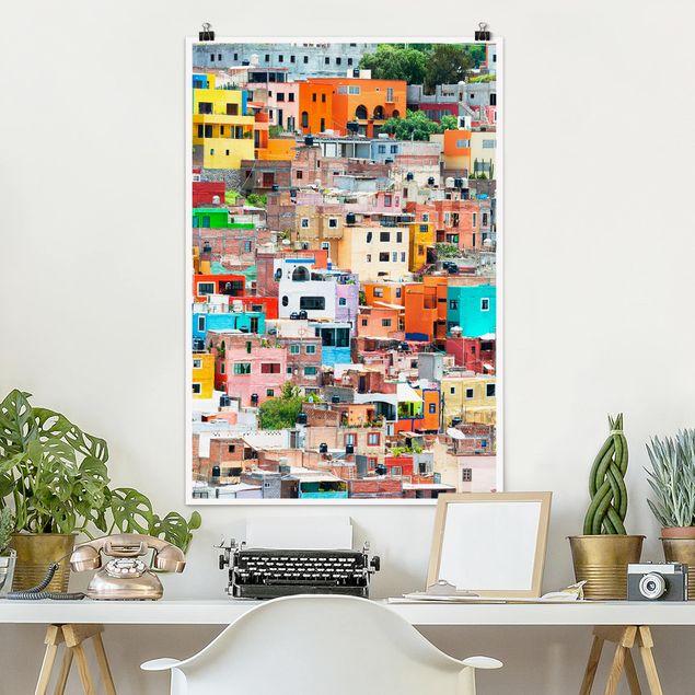 Poster - Farbige Häuserfront Guanajuato - Hochformat 3:2