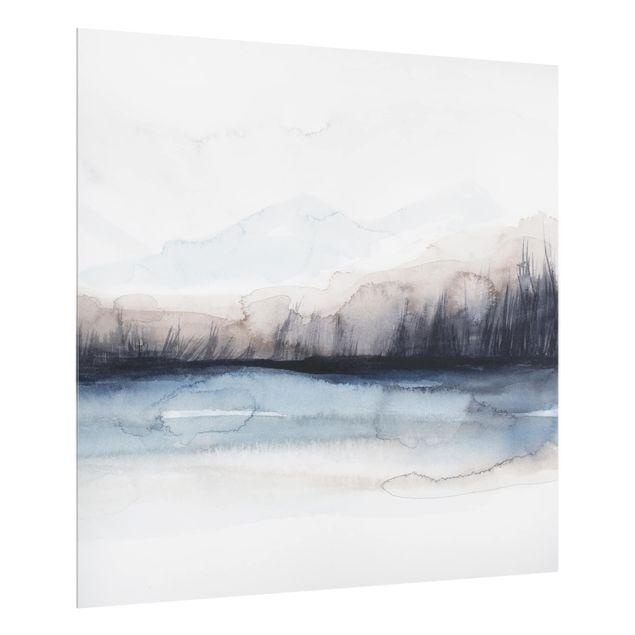 Glas Spritzschutz - Seeufer mit Bergen I - Quadrat - 1:1