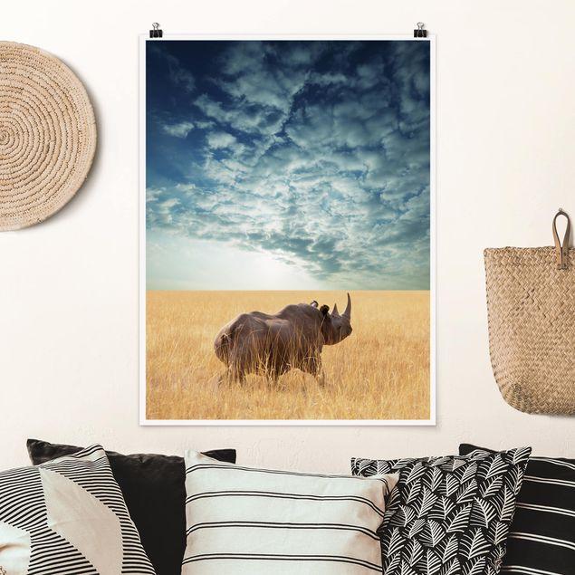 Poster - Nashorn in der Savanne - Hochformat 3:4