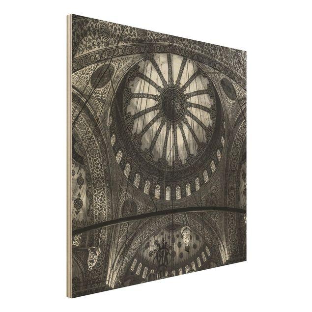 Holzbild - Die Kuppeln der blauen Moschee - Quadrat 1:1