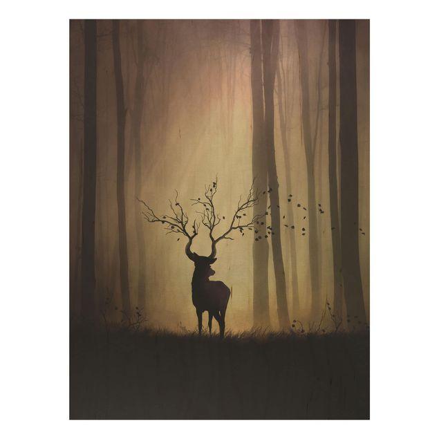 Holzbild - Der Herr des Waldes - Hochformat 4:3