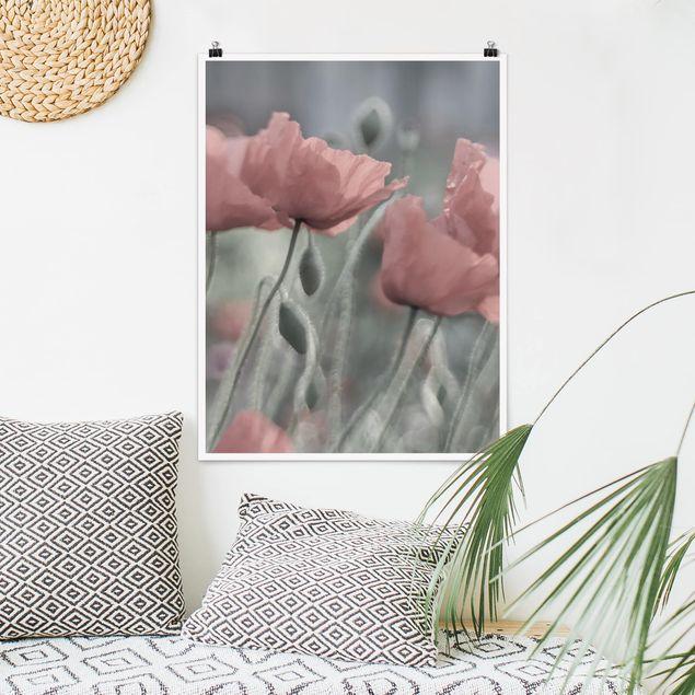 Poster - Malerische Mohnblumen - Hochformat 3:4