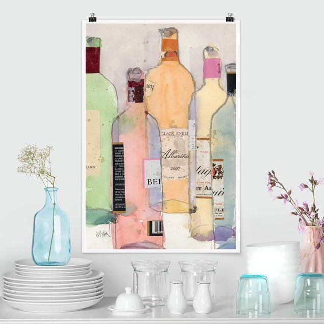 Poster - Weinflaschen in Wasserfarbe II - Hochformat 3:2