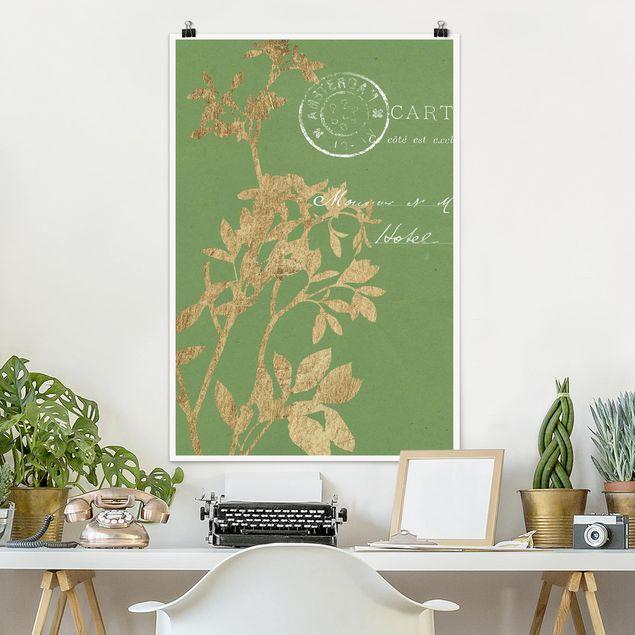 Poster - Goldene Blätter auf Lind I - Hochformat 3:2