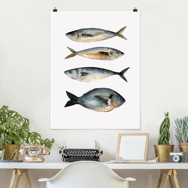 Poster - Vier Fische in Aquarell I - Hochformat 3:4